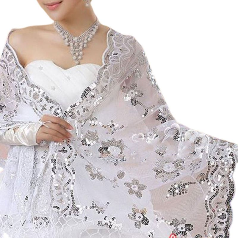 High Quality New Bride Wedding Dress Women Cheongsam Shawl White Lace Embroidered Sequins Long Shawls