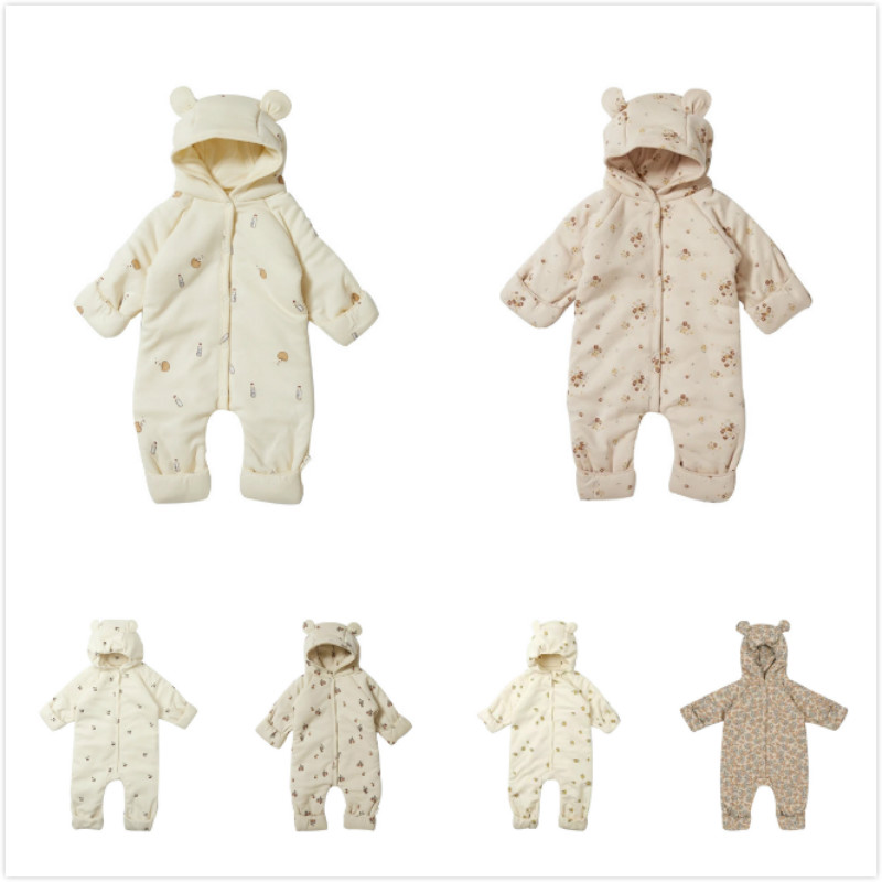 Осень-зима 2020, детские комбинезоны KS, хлопковый комбинезон с капюшоном и мультяшным принтом, теплая куртка