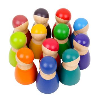 12 sztuk zabawki dla dzieci drewniane bloczki śliczne tęcza w stylu kreskówki lalki drewniane zabawki edukacyjne zabawki montessori dziecko dzieci bloki drewniane tanie i dobre opinie Drewna 8 ~ 13 Lat 14Y 5-7 lat 2-4 lat Dorośli Zwierzęta i Natura Rainbow Blocks baby blocks regenboog hout arcoiris rainbow