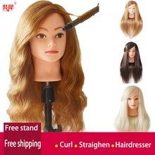 Cabeza de maniquí profesional con pelo humano 85% dorado para práctica de peluquero cabeza de entrenamiento de muñeca de peluquería Kappershoofd