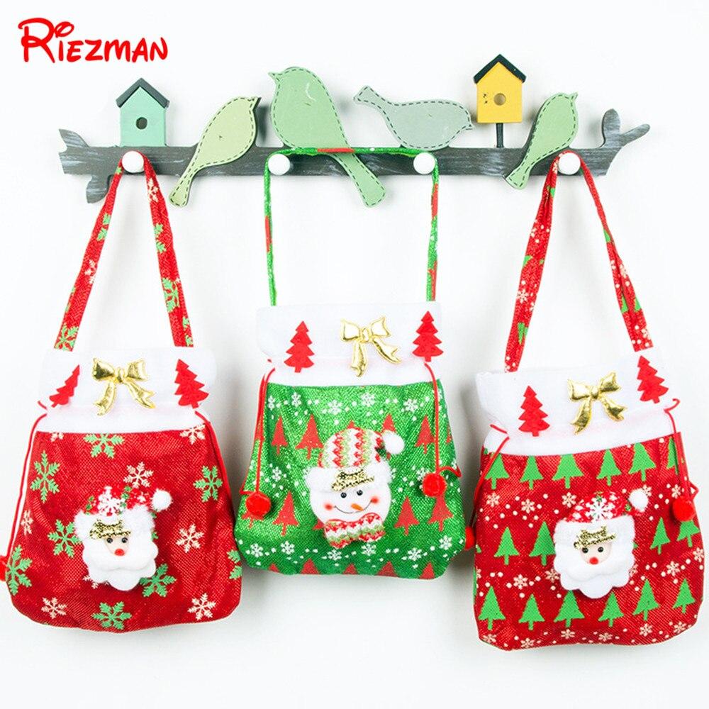 Riezman Merry Christmas Gift Bags New Children's Candy Bag Santa Claus Gift Bag Portable Gift Bag Handbag Christmas Decorations