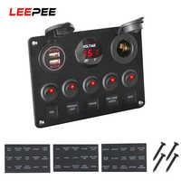LEEPEE Car Marine Boat LED Rocker Switch Panel Waterproof Digital Voltmeter Dual USB Port 12V Outlet Combination