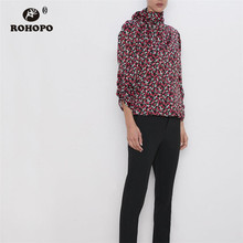 ROHOPO Red Rose Bow Turtle neck Collar Blouse Long Sleeve Draped Cuff  Love Woman Autumn Top Shirt #9268