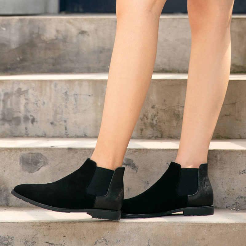 BeauToday Chelsea çizmeler kadın hakiki deri yuvarlak ayak elastik bant moda güzel kiş Lady yarım çizmeler el yapımı 03604