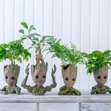 아기 그루트 화분 꽃 냄비 화분 인형 나무 남자 귀여운 모델 장난감 펜 냄비 정원 화분 꽃 냄비 선물 아이를위한