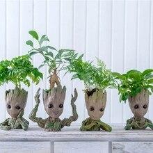 תינוק Groot עציץ עציץ עציץ פסלוני עץ איש חמוד דגם צעצוע עט סיר גן המטע עציץ מתנה עבור ילדים