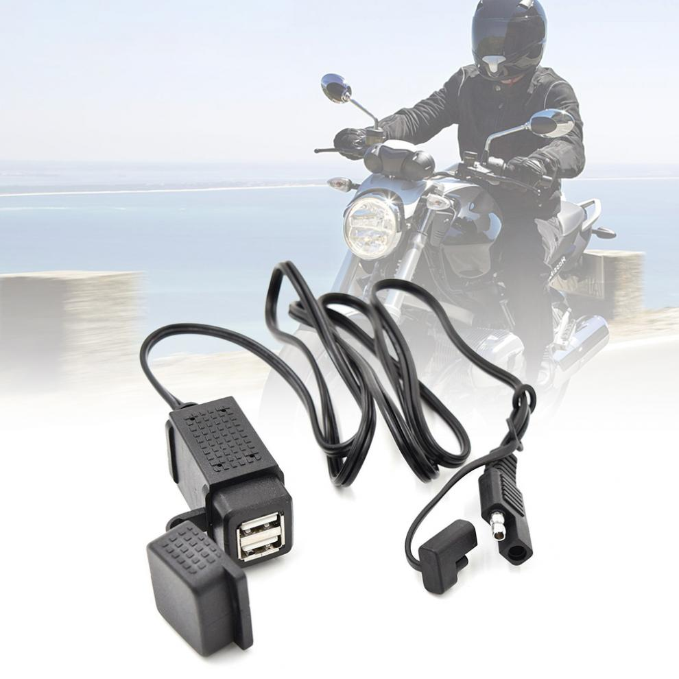 12V-24V 3.1A Motorcycle SAE Dual USB Cable Adapter Dual Port Power Socket Smart Phone Tablet GPS Charger For Motorbike