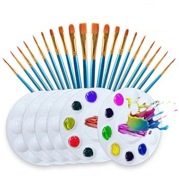 26pcs/set Artist Paint Brush Nylon Hair Watercolor Acrylic Oil Painting Palette 12 wood artist paint brush suits wood palette nylon hair watercolor acrylic painting brush artistic supplies