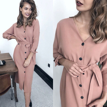 Women Vintage Front Button Sashes A-line Dress Long Sleeve Sexy V neck Solid Ele