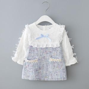 Image 1 - בנות שמלה חדשה סתיו אנגליה סגנון בנות בגדים ארוך שרוול משובץ ילדי בגדי ילדים שמלה עם פנינים 0 2Y