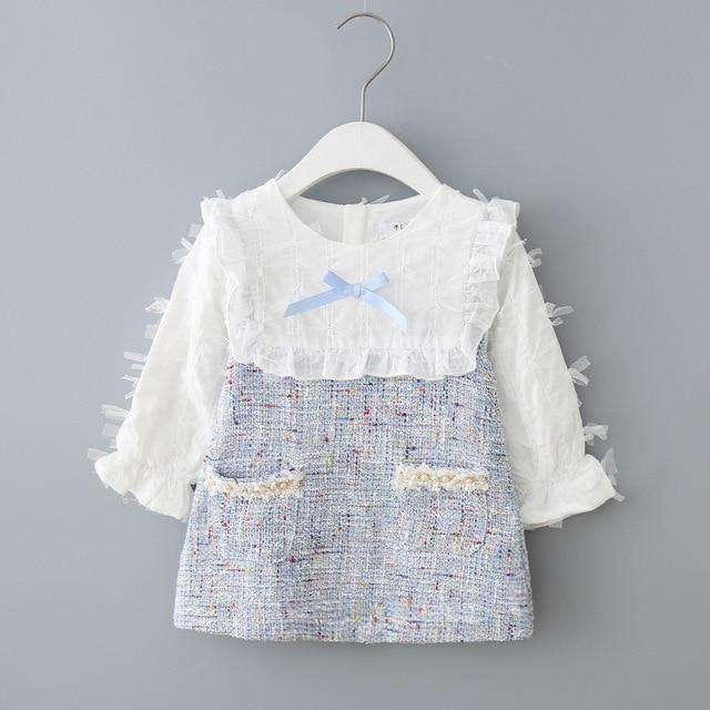בנות שמלה חדשה סתיו אנגליה סגנון בנות בגדים ארוך שרוול משובץ ילדי בגדי ילדים שמלה עם פנינים 0 2Y