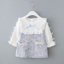 Girls Dress New Autumn England Style Girls Clothing Long Sleeve Plaid Children Clothes Kids Dress with Pearls 0-2Y