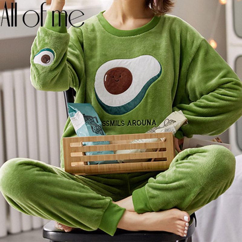 Pyjamas Set Flanell Warme Homewear Frauen Winter Nachtwäsche Plüsch Pyjamas Mädchen Cartoon Nachthemd Pijamas Mujer Startseite Anzüge Pjs