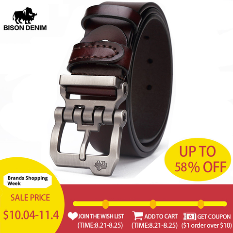 BISON DENIM genuine leather belt for men gift designer jeans belts men's high quality Cowskin Personality buckle Vintage N71223 Pakistan