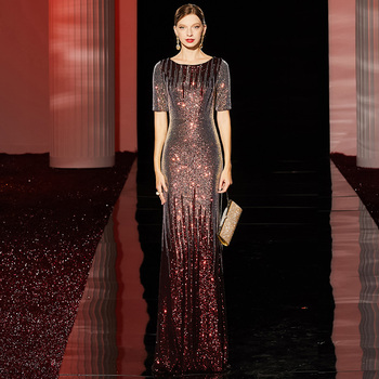 tailor shop dark red sequin dress two tone gradient fish tail wine evening gown shimmering
