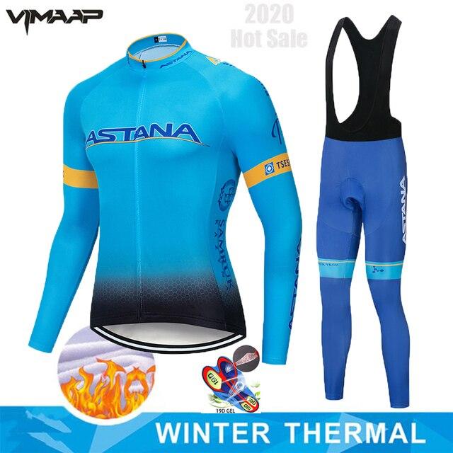 Astana conjunto camisa de ciclismo pro equipe manga longa roupas dos homens inverno ciclismo roupas lã térmica ropa hombre quente 1