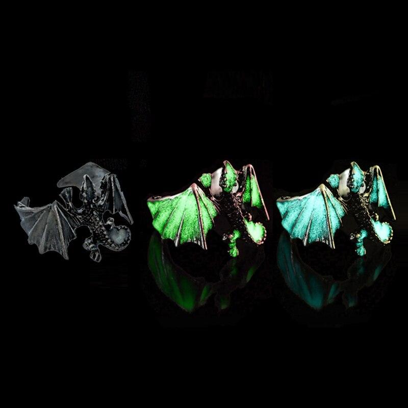 Регулируемые готические панковские серебряные кольца в виде дракона в винтажном стиле, светящиеся кольца для мужчин на Хэллоуин
