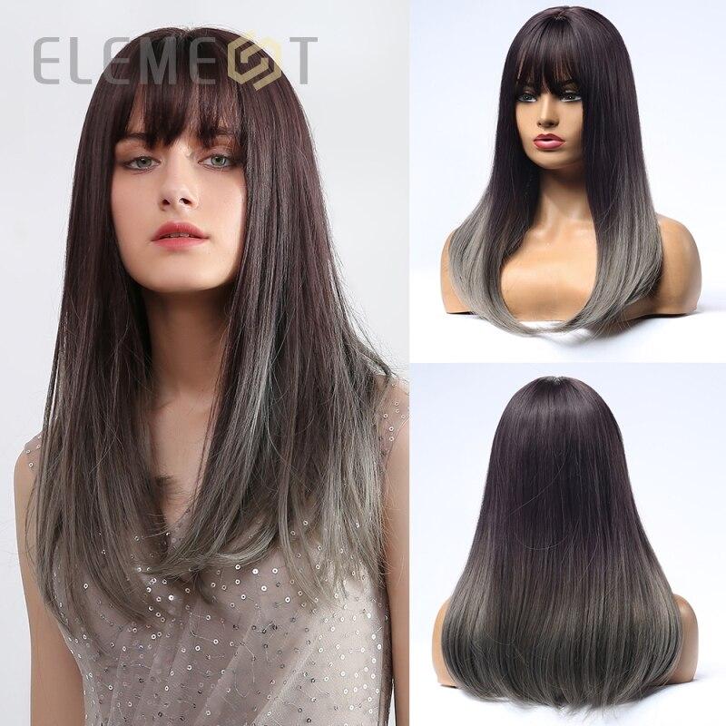 Element syntetyczne długie proste peruki do kostiumów z Bangs ciemny odrost Ombre szary naturalne włosy peruka dla czarnych białych kobiet
