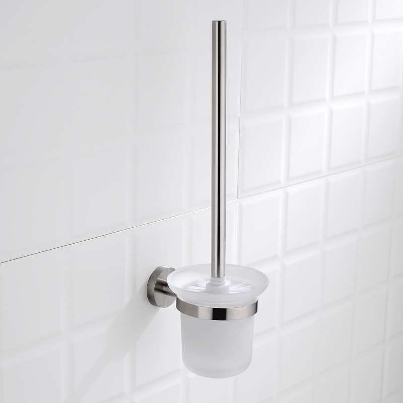 Modern Toilet Brush Holder Stainless Steel <font><b>SUS</b></font> <font><b>304</b></font> Wall Mounted Toiler Hanger with Glass Cup Bathroom Hardware Fitting image