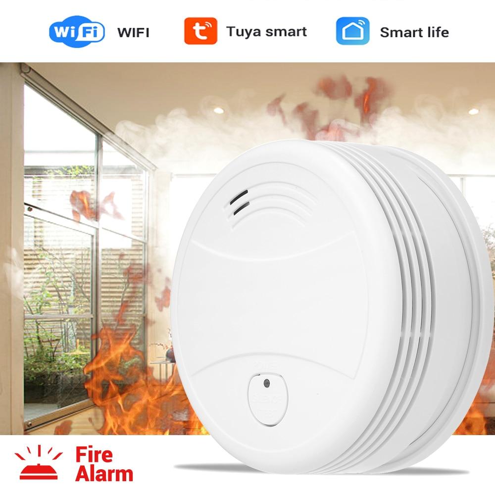 Independent Smoke Detector WiFi Fire Alarm Tuya/Smart Life APP Fire Detector Smoke Sensor 360° detection Low Battery Reminder