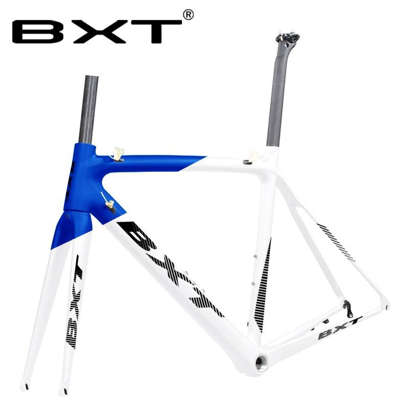 BXT Road Bike Frame Carbon Road Bicycle Frame Derailleur Di2 Mechanical Carbon Racing Bike Frame 700C Frame Size 500 530 550mm