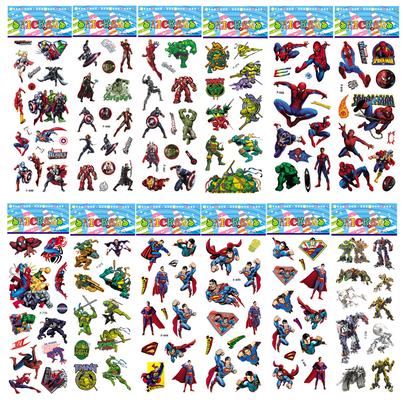 6 Sheets 27 Style Not Repeat Marvel Sticker Spiderman Iron Man VSCO Captain America Avengers 3D Bubble Puffy Children Toys Boy