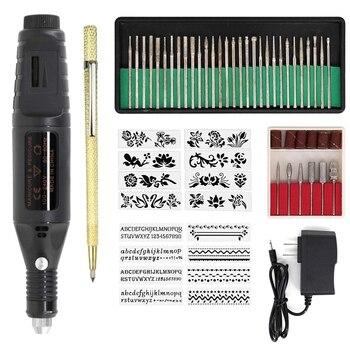 La mejor pluma de micrograbado eléctrica, Mini Kit de herramientas de grabado Vibro Diy, joyería de madera plástica de cerámica de vidrio de Metal con grapadora