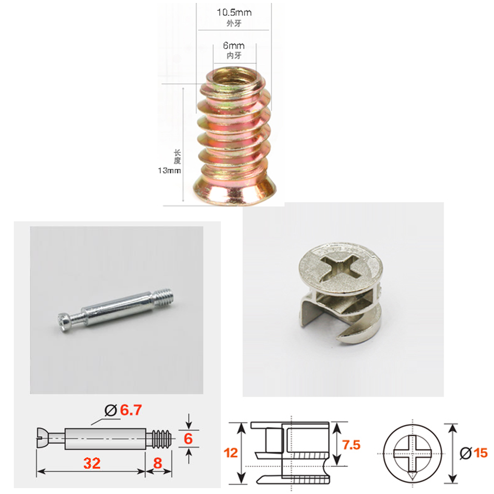 20pcs 3in1 M6*40 Furniture Screw Assembled Pieces Kitchen Cabinet Connectors Hammer Nut