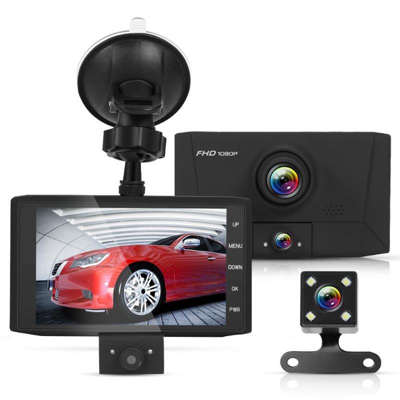 Car DVR Support-Card-Storage Auto-Dashcam Rearview-Camera Dual-Lens with Tachograph 32GB