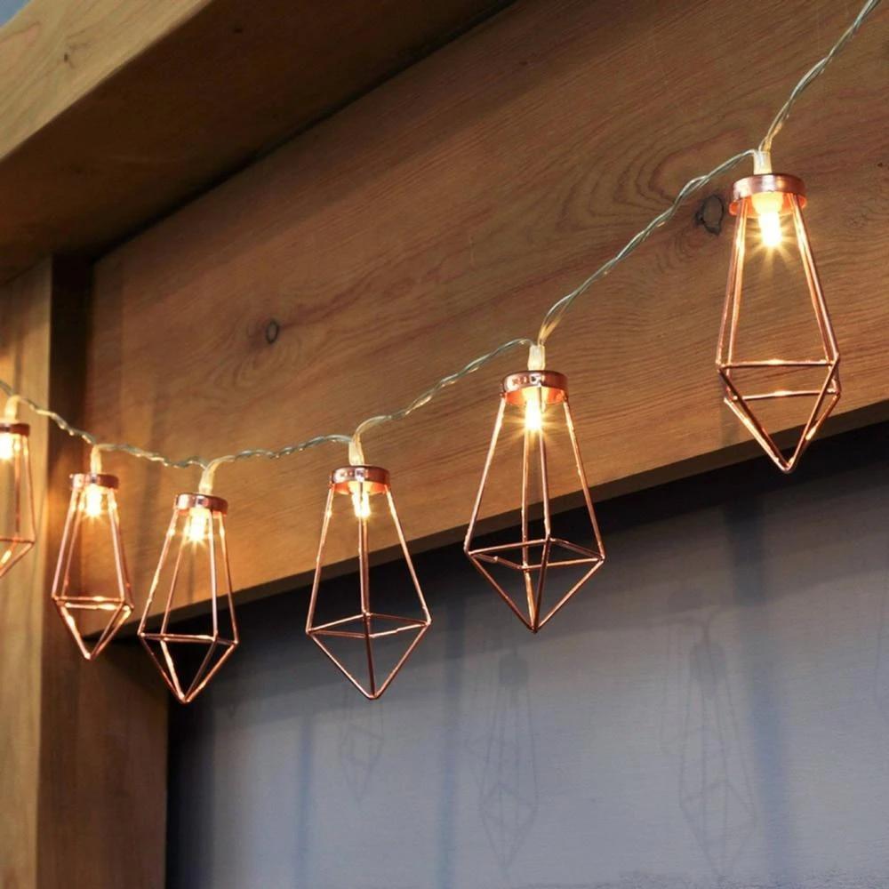 Geometric Starry String Lights 3m 20 Led Rose Diamond Shape Fairy String Lights Battery Powered Metal Cage Bedroom String Light Led String Aliexpress