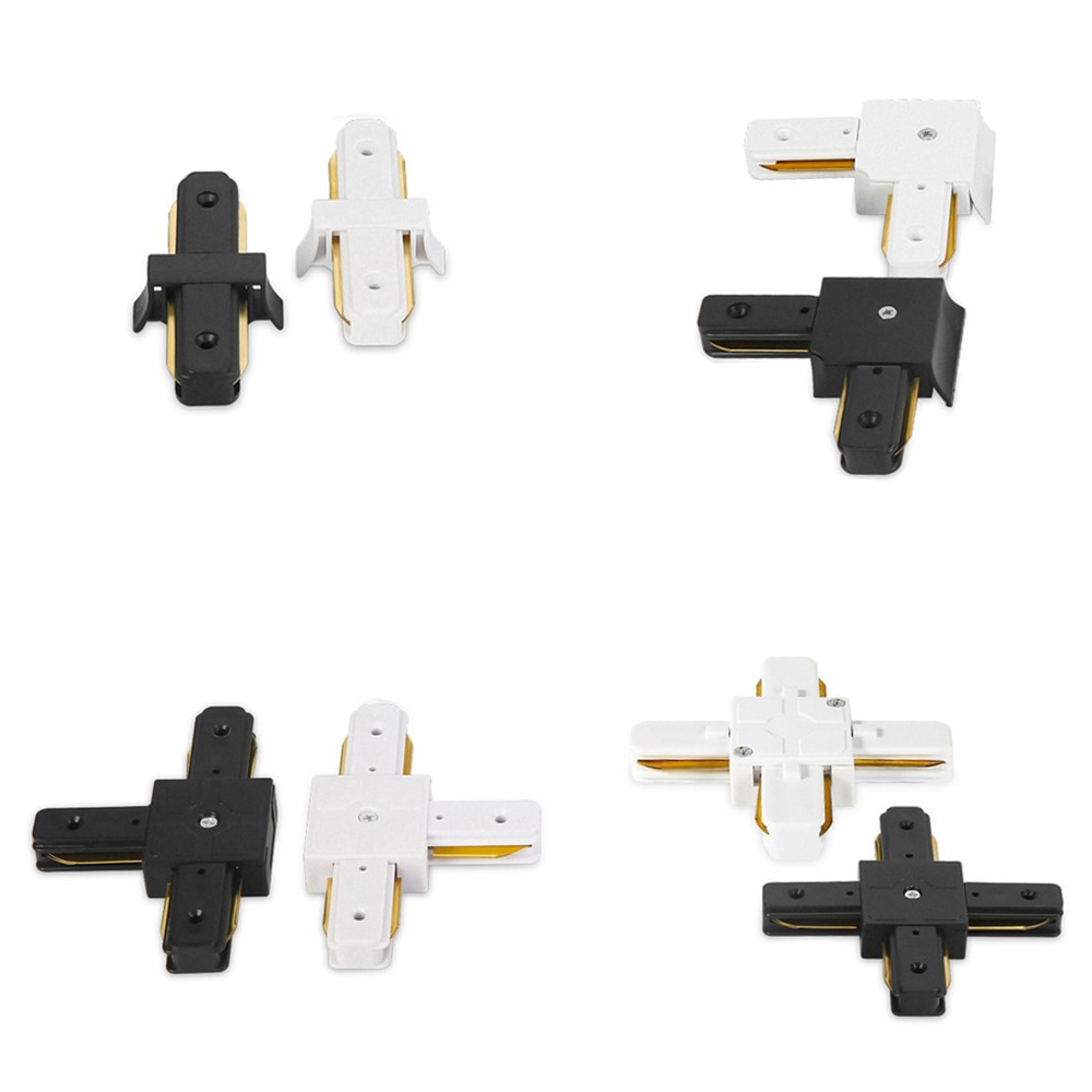 10pcs Track verlichting Rail Connector Recht/L Connector 2 draad voor track lichtpunt Systeem Auminum Rail Connector