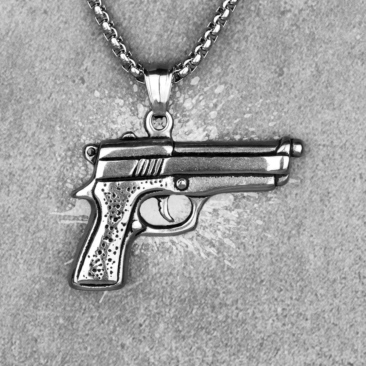 Мужской пистолет, оружие, длинная искусственная кожа, панк, хип-хоп для мальчиков, мужские ювелирные изделия из нержавеющей стали, креативны...