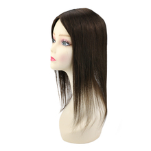 Ugeat Mono Crown Toppers Hairpieces for Thinning Hair 5*5Inch Human Hair Toppers Color #2 Darkest Brown Hair Wiglets