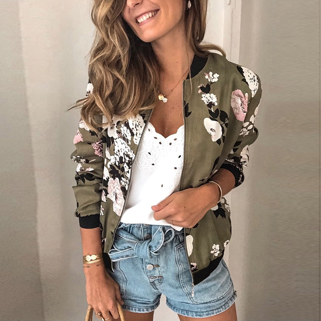 Women Fashion Jacket Retro Floral Print Coat Casual Zipper Up Bomber Ladies Casual Autumn Outwear Coats Women Clothing #T1G
