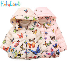 Baby Girl Butterfly Pattern Winter Jacket Coat Warm Coats Infant Snow Wear Girls Toddler Outerwear Hooded