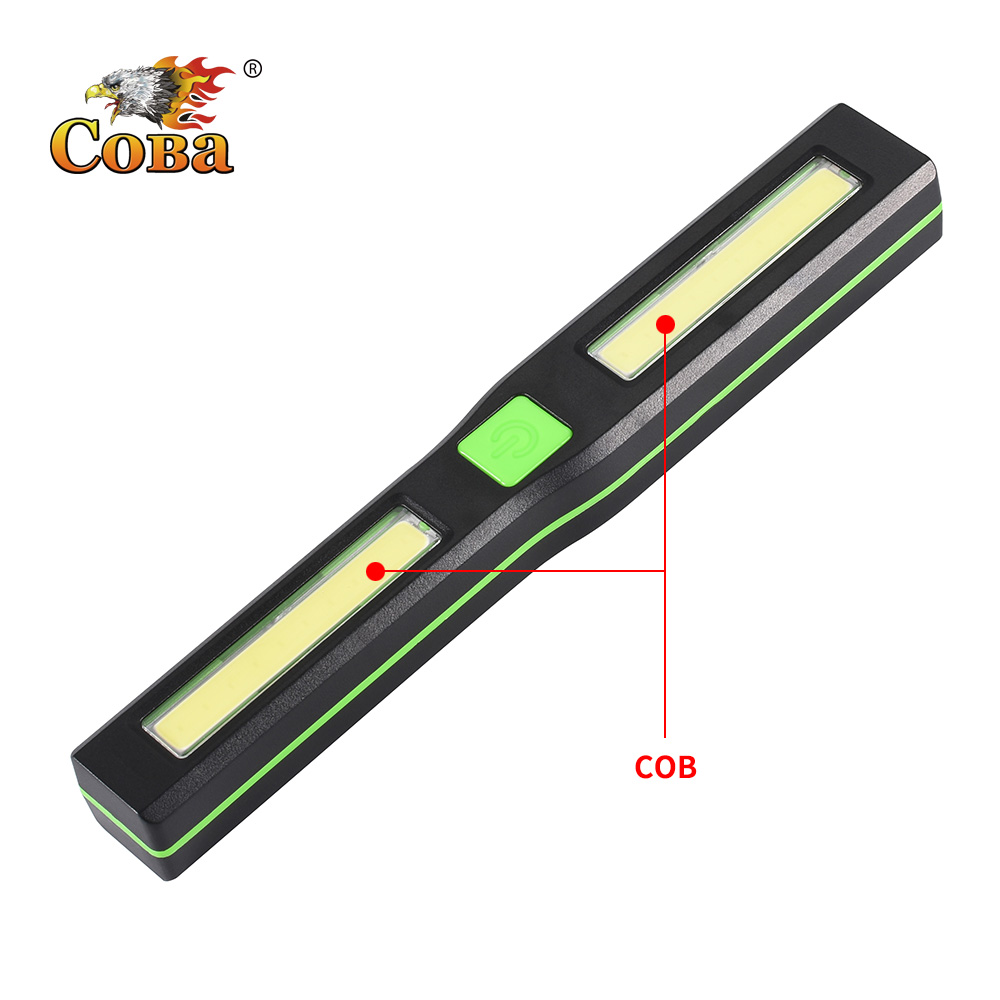 COBA Led Plastic Worklight Magnetic Cob Work Lamp 4 Modes Waterproof Use 3*AAA Battery Light Portable Led Light Searching Light
