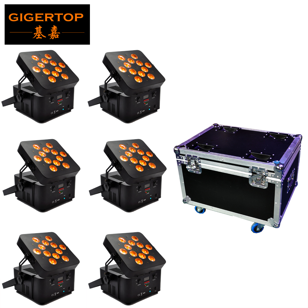 6IN1 Charging Flightcase Pack 12 X15W Tyanshine Battery Wireless Led Par Light  RGBWA 5IN1 Color Phone App Remote Control