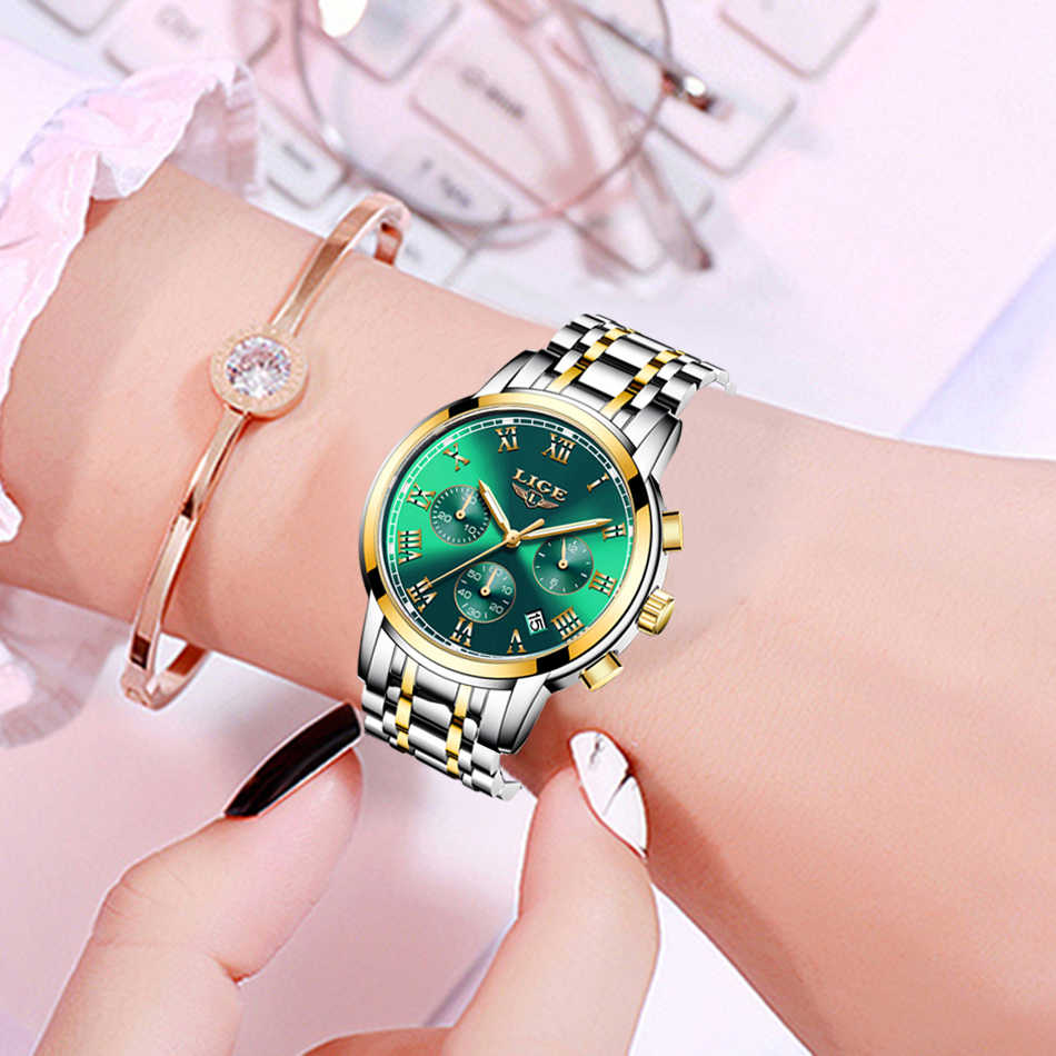2020 ליגע אופנה נשים שעונים גבירותיי למעלה מותג יוקרה עמיד למים זהב קוורץ שעון נשים נירוסטה תאריך ללבוש מתנת שעון