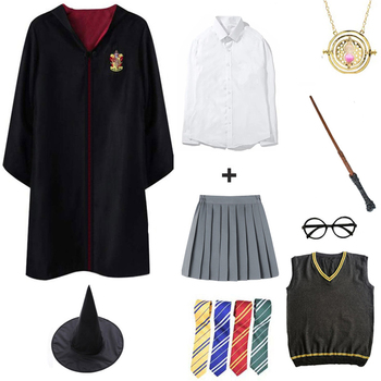 Adult Kids Potter Cosplay Costume Halloween Party Cloak Potter Robe Cape Magic Uniforms Wand Tie Scarf Clothes Gift Dropshipping harriom coin bank 18 pcs coin with bag cosplay potter toy halloween magic world party jouet gift