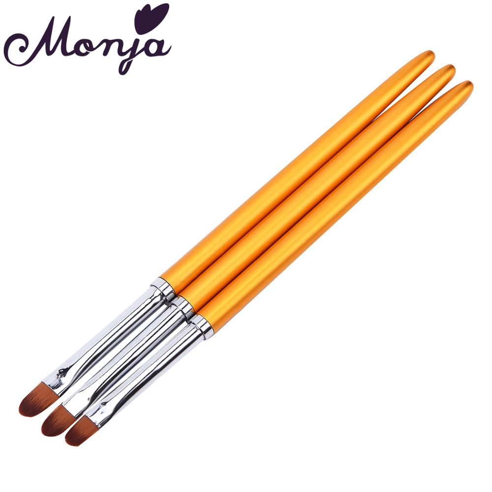 Monja 3pcs Nail Art Metal Handle Acrylic UV Gel Extension Builder Petal Flower Painting Drawing Brush Manicure Tools