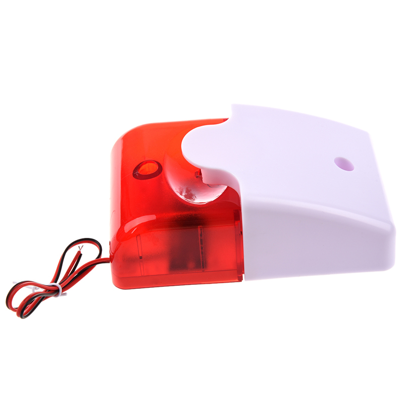 AABB-12V Wired Sound Alarm Strobe Flashing Light Siren Home Security System