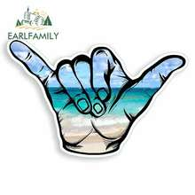 EARLFAMILY 13cm x 8.6cm for Beach Hang Loose Surf Hawaii Anime Funny Car Stickers Vinyl JDM Trunk Truck Graphics Car Accessories