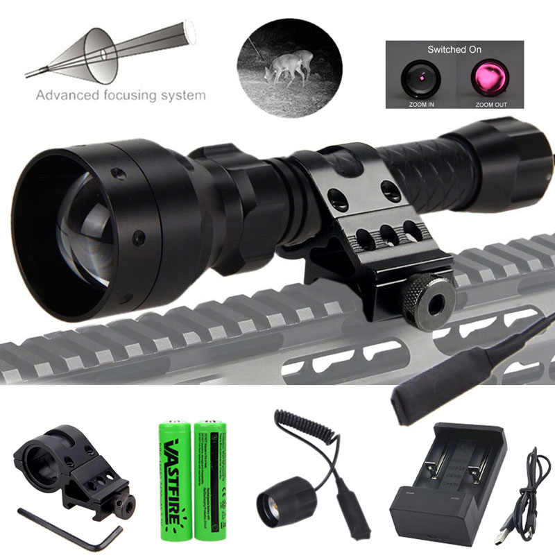T50 Zoomable Infrared Flashlight Hunting Torch 850nm IR Night Vision illuminator Rifle Scope Mount Switch 2 18650 USB Charger