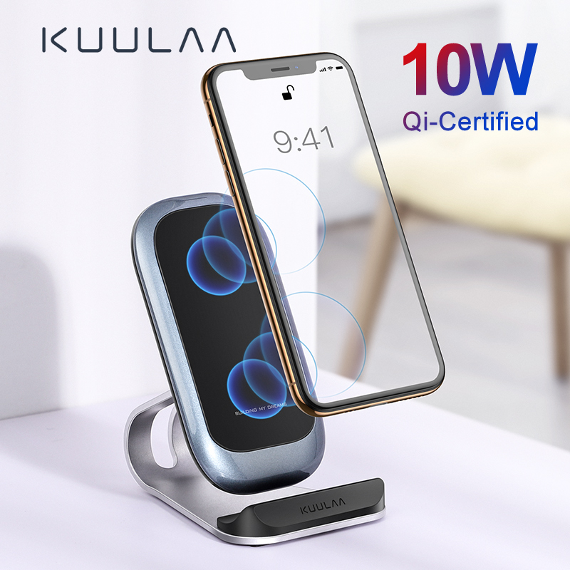 KUULAA Wireless Charger 10W Qi for iPhone X XS 8 XR Samsung S9 Xiaomi Fast Wireless Charging Stand Phone Holder Charger in Wireless Chargers from Cellphones Telecommunications