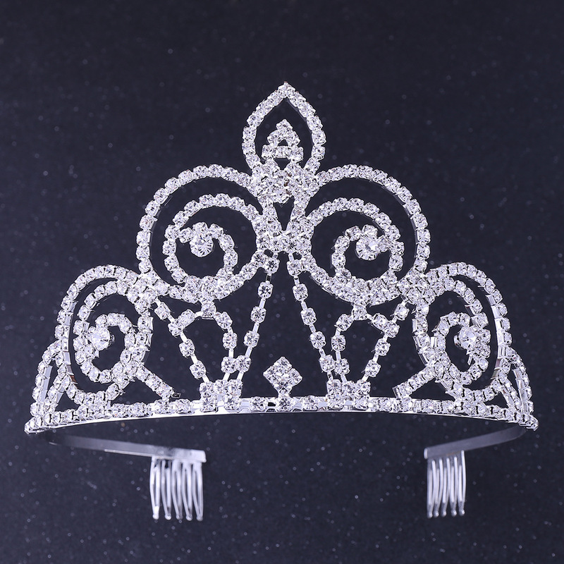 2PCs Barrette Crown Kids Tiara Childrens Decoration for Hair Bride Princess Diadem Girls Wedding Pearl Headband Accessories