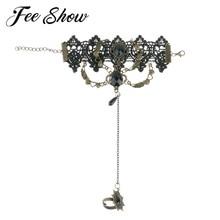 Стимпанк аксессуары в готическом стиле костюм Винтаж женские перчатки для Хэллоуина средневековые девушки элегантный цветок кружева Стразы браслет и кольцо