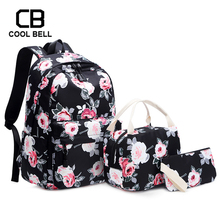 Women School Backpack Chinese Style Flower Printing Canvas Waterproof Travel Bags Teenager For Girls