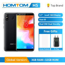 Original Global Version HOMTOM H5 3GB RAM 32GB ROM Quad Core Mobile Phone 5.7 inch GPS Fingerprint Face ID 4G FDD LTE Smartphone