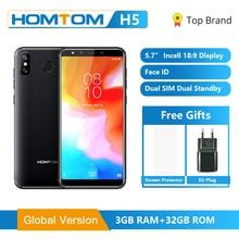 Original versão global homtom h5 3gb ram 32gb rom quad core celular 5.7 polegada gps impressão digital face id 4g FDD LTE smartphone