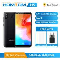Version mondiale originale HOMTOM H5 3GB RAM 32GB ROM Quad Core téléphone portable 5.7 pouces GPS empreinte digitale visage ID 4G FDD-LTE Smartphone